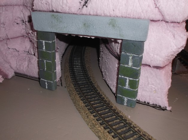 Starting to paint. Here is one of the tunnel entrances.