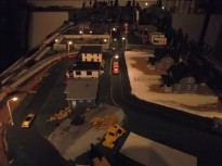 I got the street lights in place and wired. I really like the look they add to the layout.